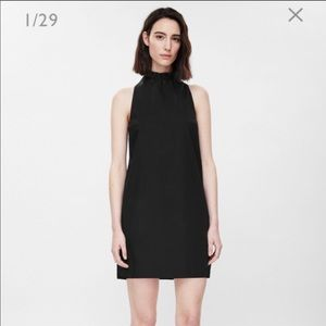 COS black dress with tie collar !